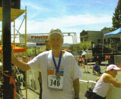 Maddog at the finish of the Steamboat Marathon 06/02/08.