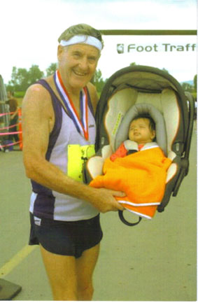 A happy' Pappy' and a proud Pricess Priya at the finish line at the Portland Marathon.