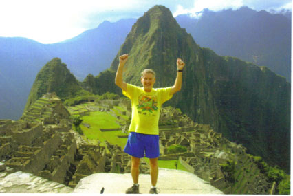 Maddog happy-to-be-alive at the finish line of the Inca Trail Marathon.