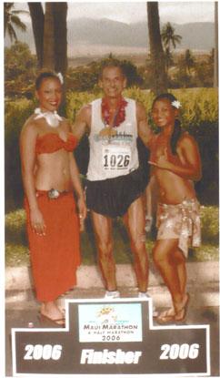 Daniel Clapper at the finish of the Maui Marathon in 2006.