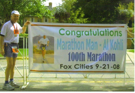 Al Kohli the Marathon Man after finishing his 100th Marathon at the Fox Cities Marathon on 09/21/08.