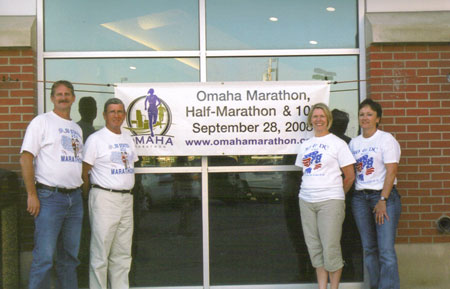 Jerry Schaver, Jim Patton, Kathleen Patton, and Carol Parker after the pasta dinner at the Omaha Marathon on 09/27/08.