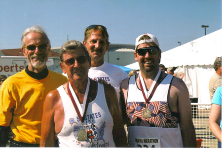 Jerry Dunn, Jim Patton, Jerry Schaver, and Kevin Patton after the finish of the Omaha Marathon on 09/28/08. This was Jim's 50 & DC finish. Great Job!!!!!!!!!