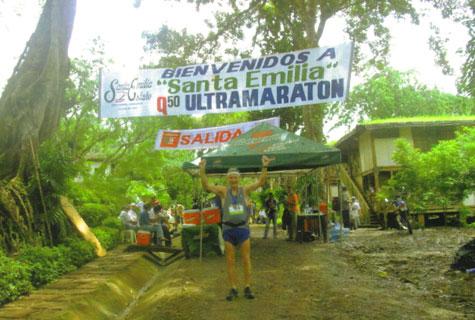Maddog at finish line in Nicaragua Q50 Ultra Marathon in 2008