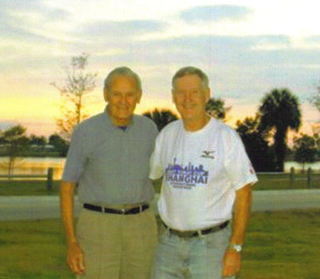 John Wallace (Maddog) and his mentor Wally Herman who share the World Record of 99 Countries! The two men represnts a total of 1024 Marathons and 198 Countries!