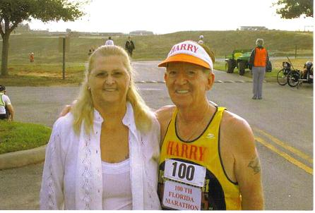 Merry & Harry Hoffman after the finish of Harry's 100's marathon in Florida. That was marathon #165. Great job!!!