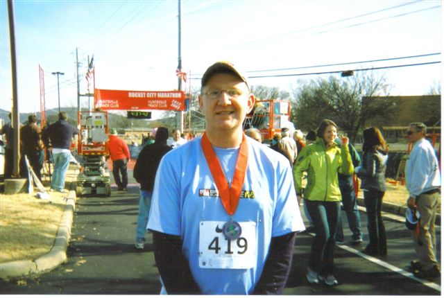 Jeff Ward after finishing the Rocket City Marathon on 12/13/08.