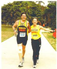 Mary Lenari and friend Greg close to the finishes of the Sarasota Marathon in Florida 03/15/09. Mary and Greg ran the Myrtle Beach Marathon the day before this Marathon.