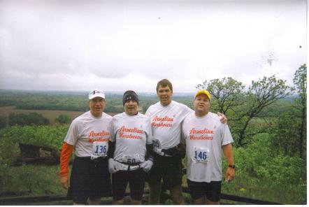A photo from Robert Mueller with friends during the Ice Age 50 Trail Run, from left to right are Don Scott, Dennis Hanna, Robert Mueller and Duane Tate. Duane is completing his 50th state and 100th marathon in Albany NY on 10/11/