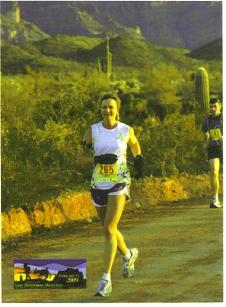 Kelli Magre running the Lost Dutchman Marathon on 02/15/09 in Apache Junction, AZ.