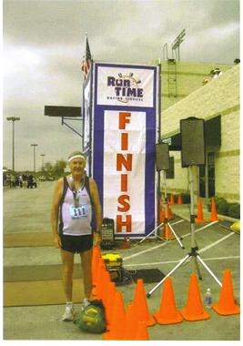 A sore and Tired Maddog at the finish line at the Fort Worth Texas Marathon.