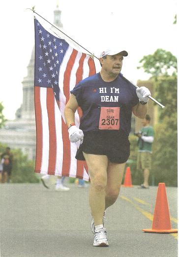 Dean Peterson running the Marine Corps Marathon.