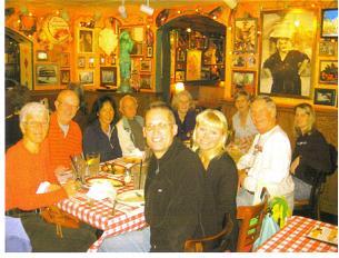 Maddog enjoying pasta dinner with the Bradenton runners before the Jacksonville Marathon in 2009.