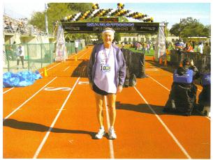 A happy relieved Maddog at the finish line at the Jacksonville Marathon 2009 .