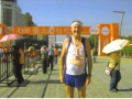 Maddog at the finish line at the Taipei Marathon.