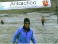 Jeannette Roostai running on Collins Glacier in the Antarctica Marathon 03/10/09