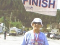 Photo of Carl Inzerillo after finishing the Mount Rushmore Marathon on 10/04/08. Great job Carl!!!