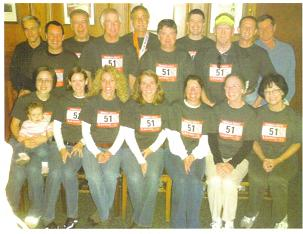 Truman Smith from Tennessee with friends that had a special shirt that each person ran with in the Hartford Marathon. 10/10/09.