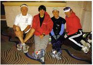 The Sarastoa gang - Maddog, Betsie, Linda and Karen resting before the start of the Gasparilla Marathon in 2010