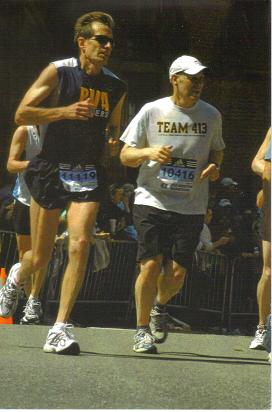 Greg Roth running the 2008 Boston Marathon.