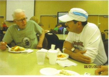 Burt Carlson and Frank Bartocci eating some pasta at the Fargo, ND the night before the marathon 05/21/10.