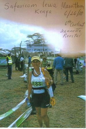 Jeannette Roostai after running the Safancom Lewa Marathon in Kenya Africa on 06/26/10. Continent #6.