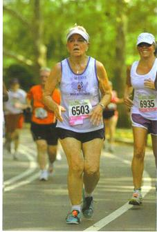 Ann Singer running the New York Road Runner's in 95 degree weather.