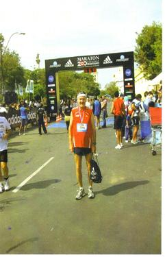 An exhausted but glad-to-be-finished Maddog at the finish line