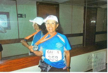Jeannette Roostai finishes her 7 Continent on July 18, 2010 at the Rio de Jameiro. Jeannette finish 3rd in her age division.
