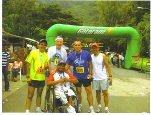 Maddog and some local runners from Guatemala at the finish line.