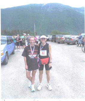 Laura MacLean & Margherita Scott after finishing the Juneau AK Marathon on 07/31/10.