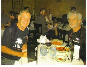 Maddog and KG Nystom - a friend and fellow member of the Country Club from Sweden enjoying 'war stories' over pasta dinner.