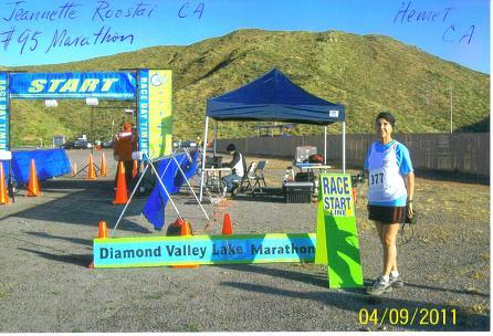 Jeanntte Roostai at the Diamond Valley Lake Marathon. Doing Marathon 95.