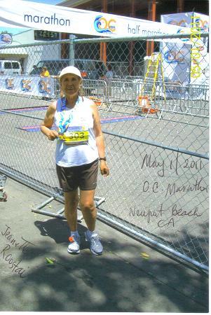 Jeanntte Roostai after the O. C. Marathon on 5/01/11 also marathon 96.