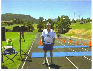 John Wallace (Maddog) at the finish line and- elevation 8,000 ft.