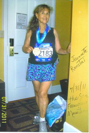 Jeanntte Roostai finish the San Francisco Marathon on 07/31/11. This marathon 97.