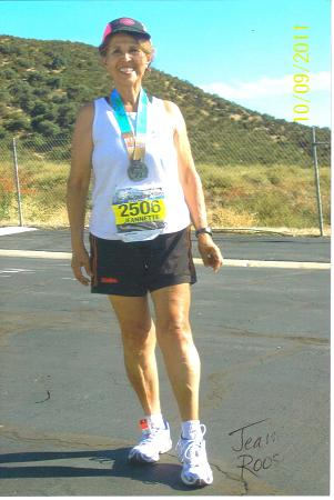 Jeannette Roostai after finishing her 98th Marathon at the Long Beach Marathon on 10/09/11