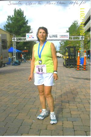 Jeannette Roostai after finishing her 99th Marathon at the Santa Clanita Marathon on 11/06/11