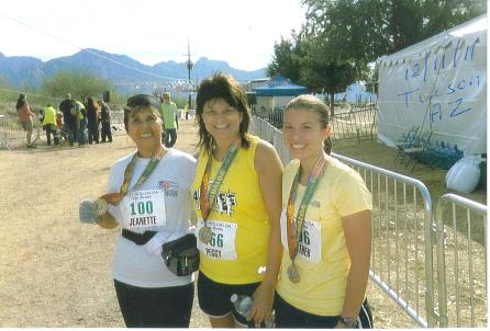 Jeannette Roostai from CA at her 100th Marathon with Peggy Kindinger from OH and Heather from NM