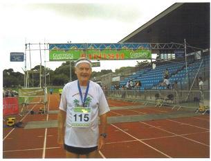 Maddog at the finish line of the Guernsey Marathon.