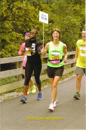 Judy Mink running the Akron Marathon in 2012.