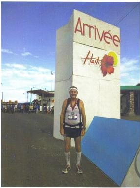 Maddog at the finish of the Marathon in Haiti, Marathon 368, and Country 119.