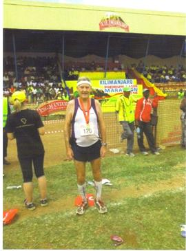 Maddog after finishing Kilimanjaro Marathon.