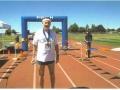 Maddog at the finish line Moses Lake Marathon.