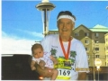 Photo of Maddog aka Pappy and his newest Princess, Lauren at the finish line of the Rock n Roll Marathon in Seattle, WA.