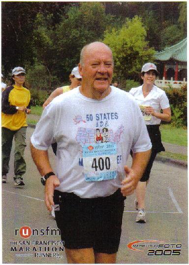 Don Lang running the San Francisco Marathon in 2005