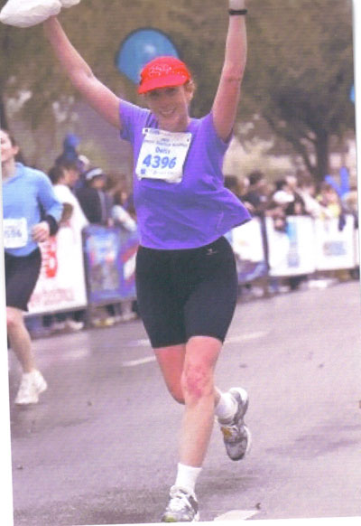 Dotty Maddock finishing the Houston Marathon on 01/14/07 with a time of 3:51:52