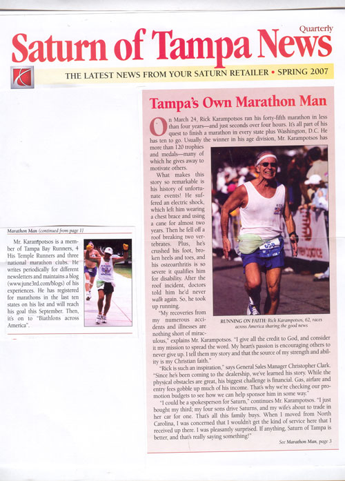 Rick Karampatsos is in the Saturn News Paper from Tampa, Florida.